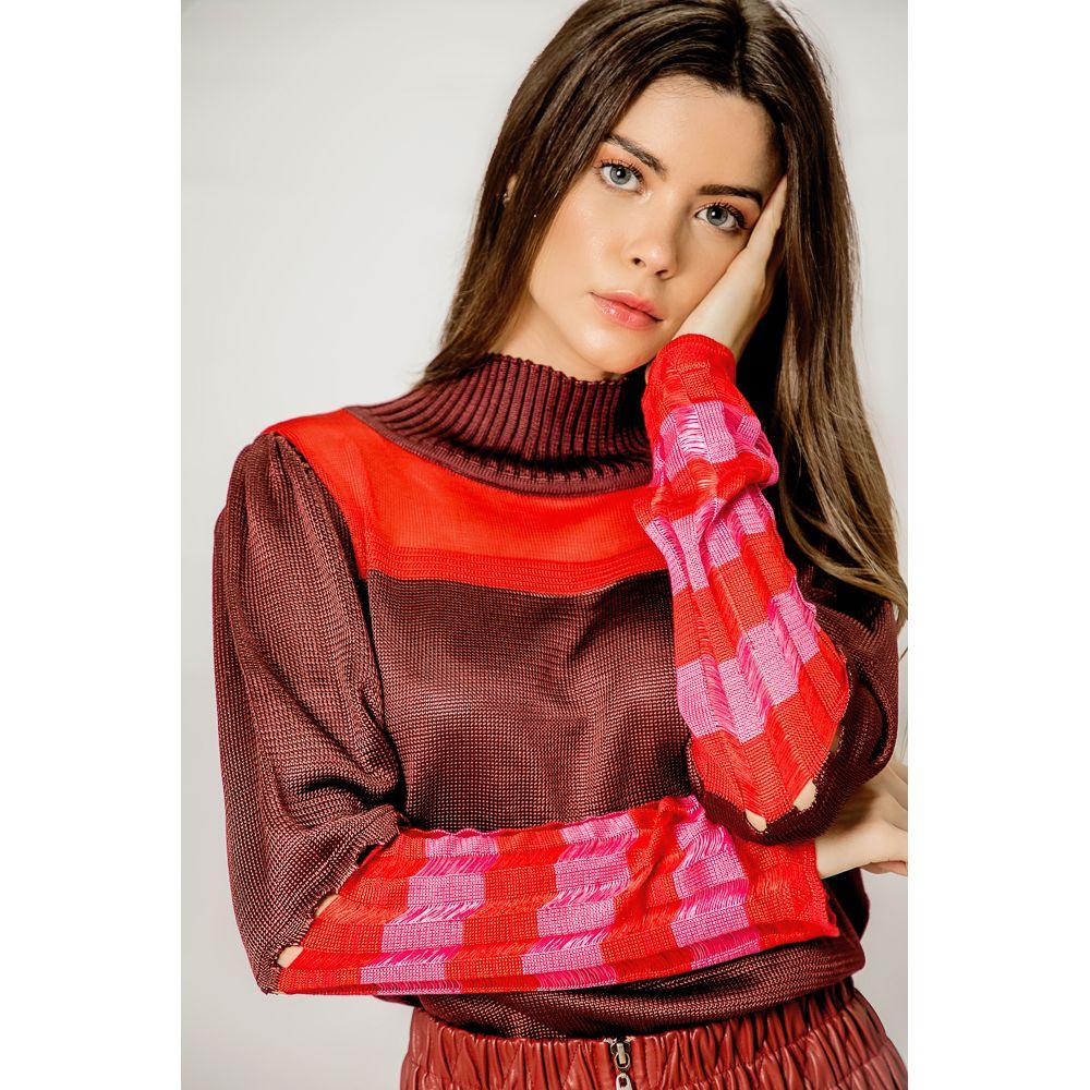 Blusa Tricot Gola Alta Mangas Listras - Must/Pink/Vemelho