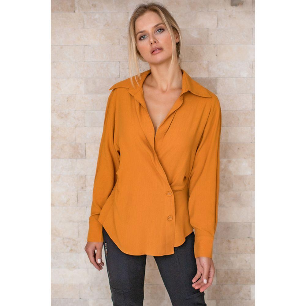 Camisa Pregas Lyocell - Amarelo Aurum