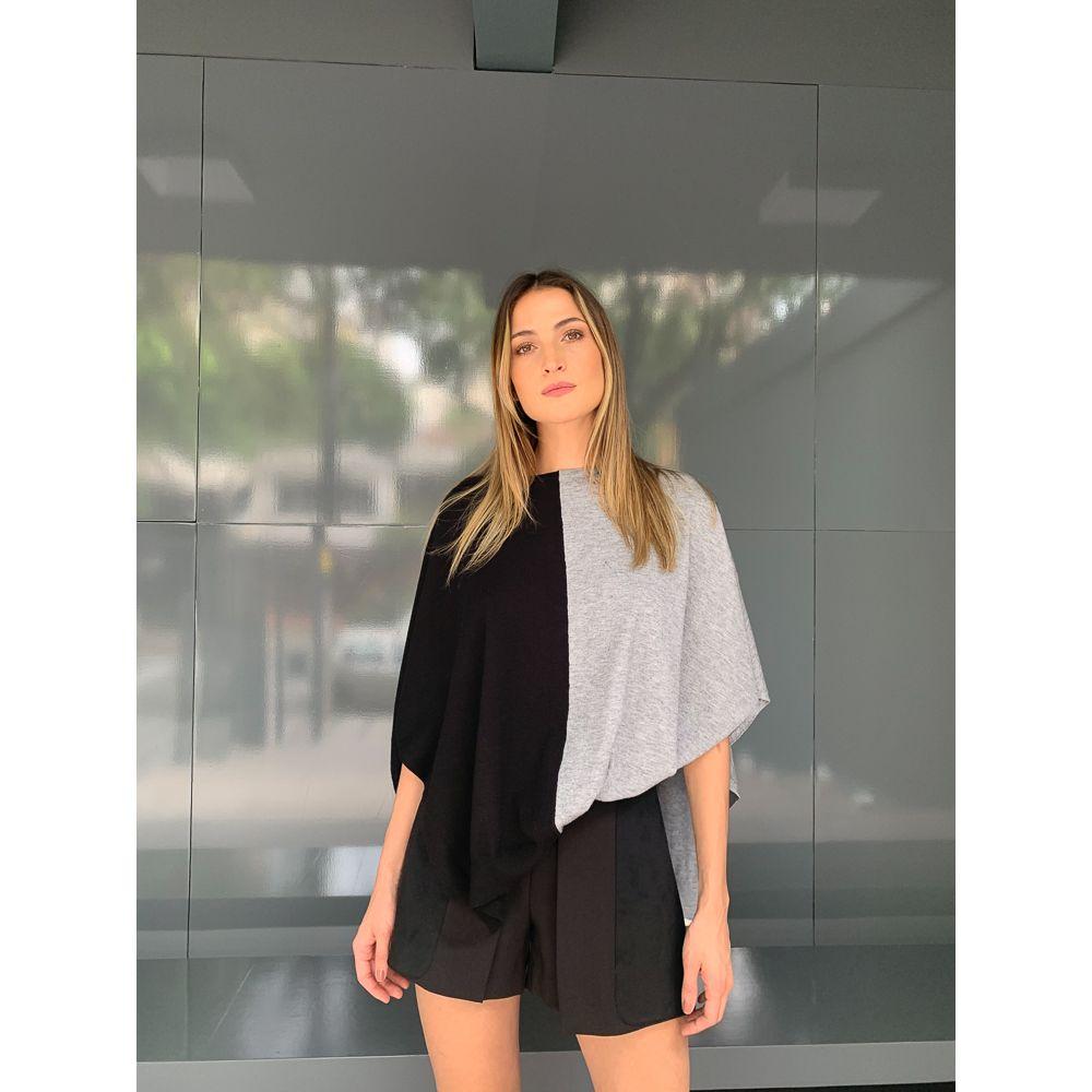 Blusa Tricot Bicolor