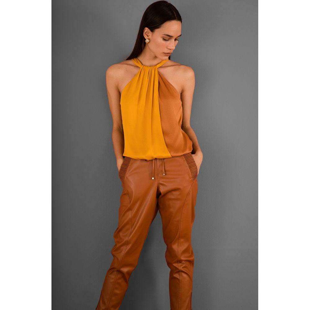 Blusa Viscose Bicolor - Amarelo/Camurça