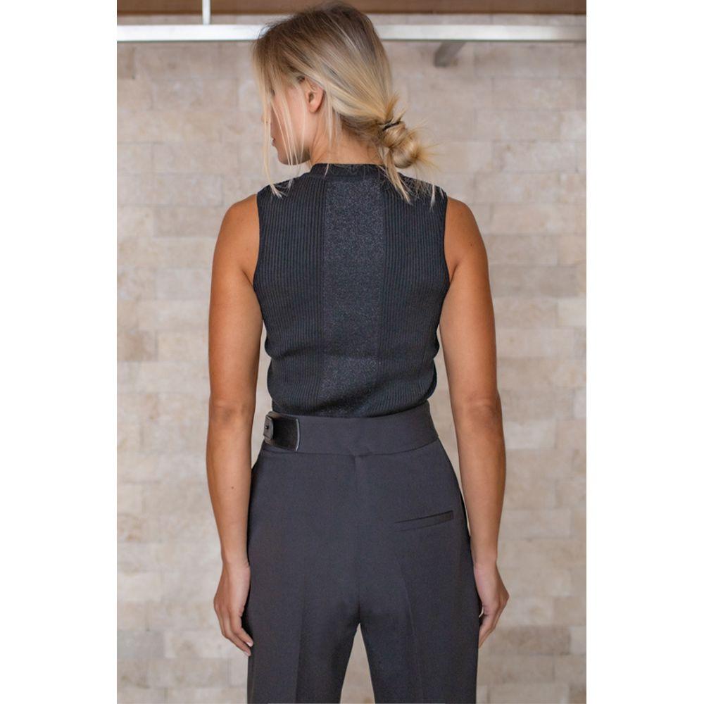 Blusa Tricot Com Recorte Frente Lurex - Preto/Preto