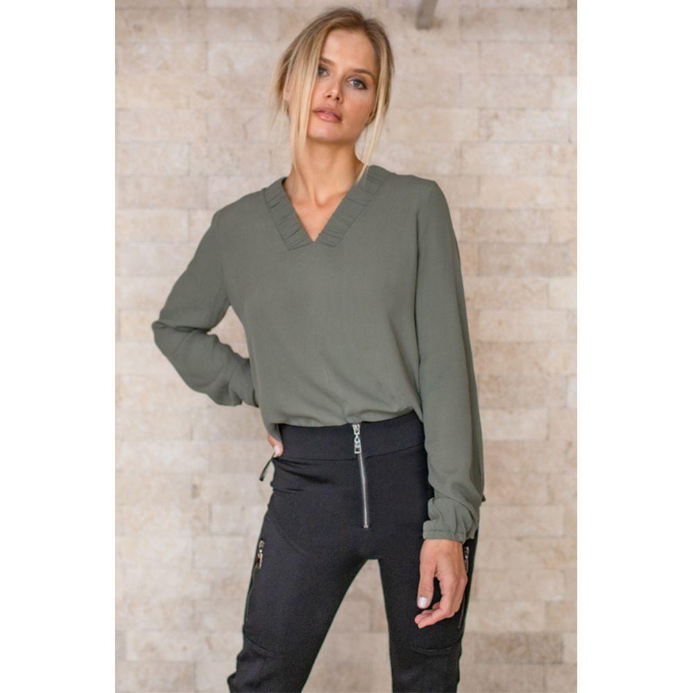 Blusa Decote Franzido - Olive