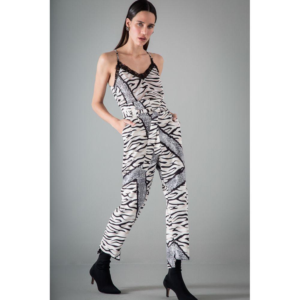 Blusa Renda Print New Animal - Preto/Branco