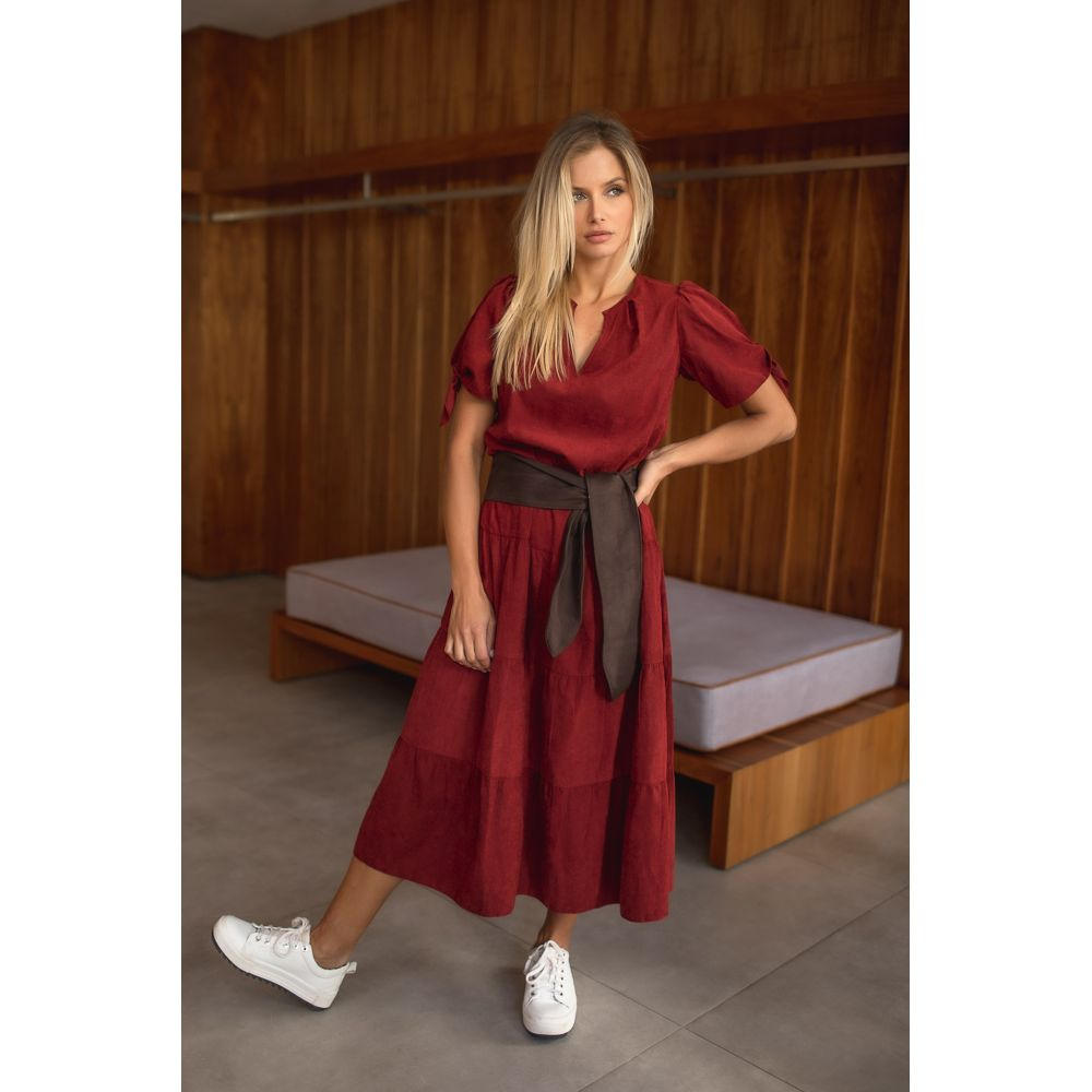 Vestido Midi Casual Com Faixa - Must