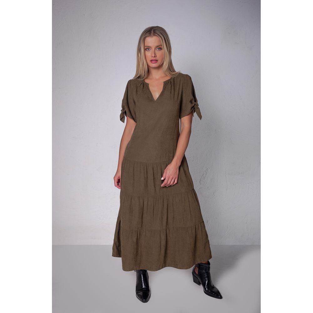 Vestido Midi Casual Com Faixa - Olive
