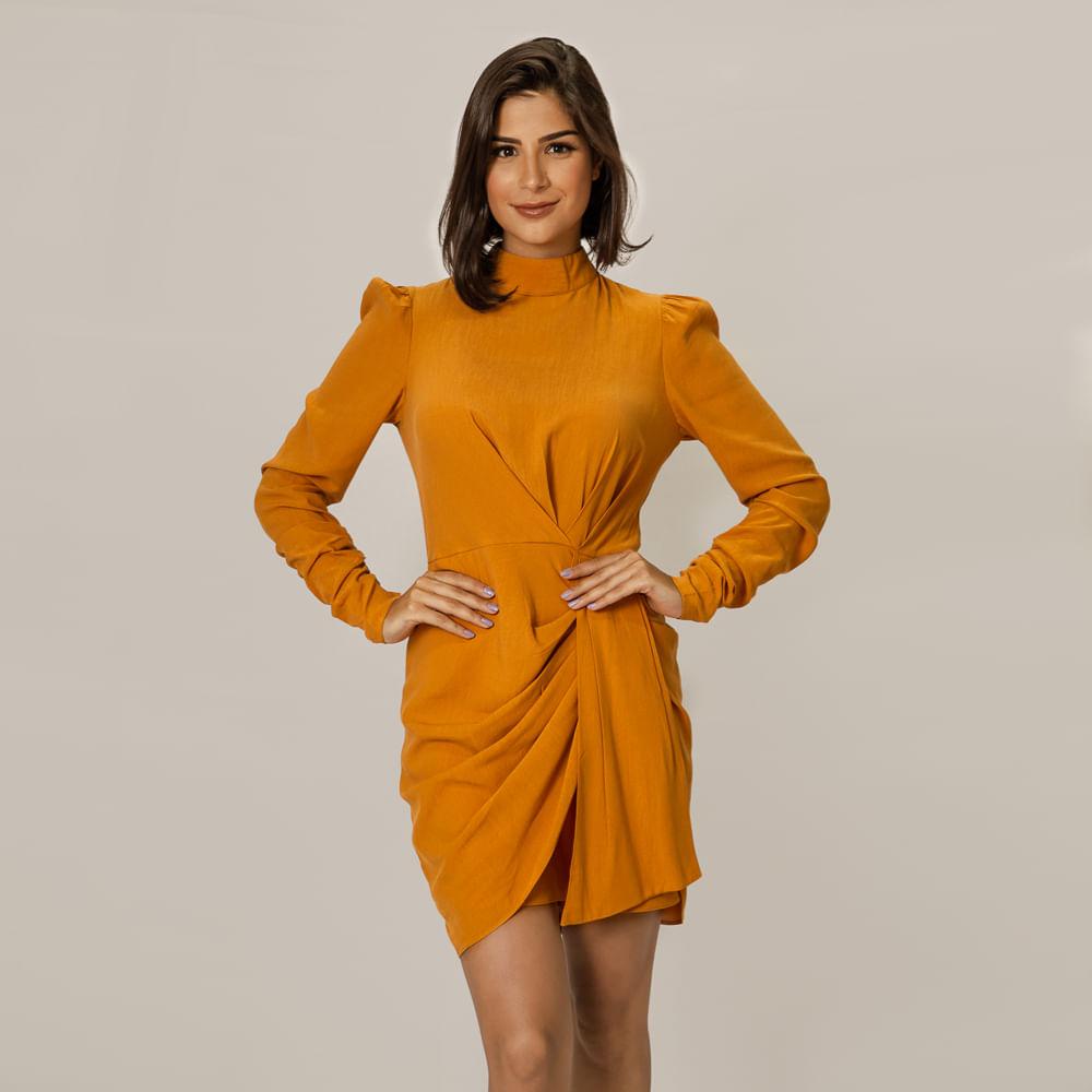 Vestido Modern Curto Manga Longa - Amarelo Aurum