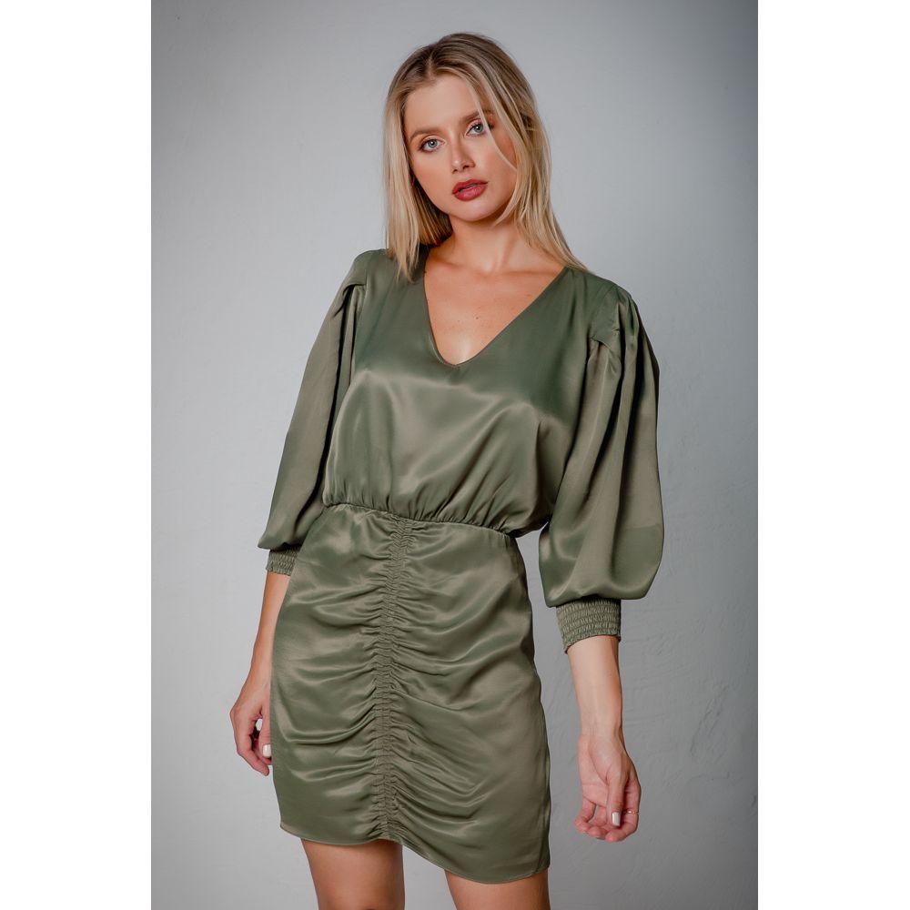 Vestido Viscose Acetinada Wish List - Olive