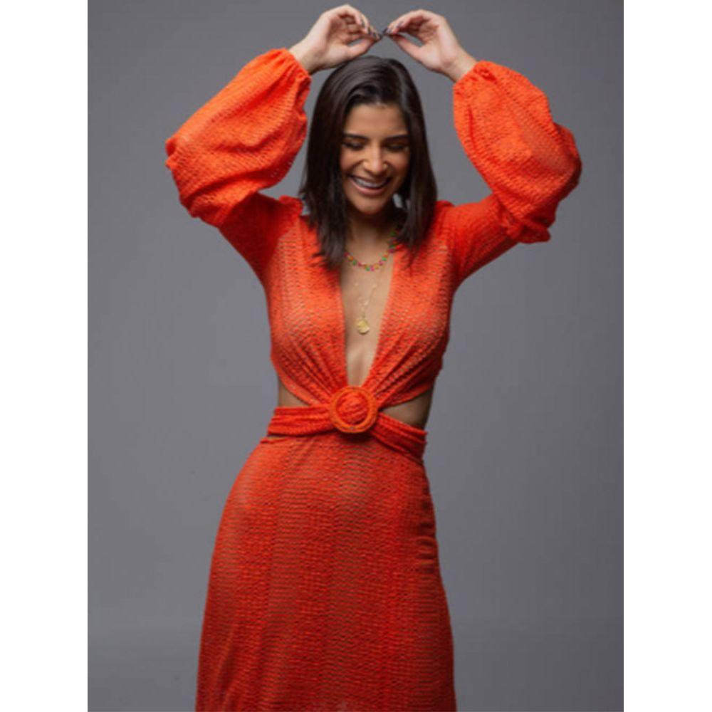 Vestido-Longo-Texturizado---Coral