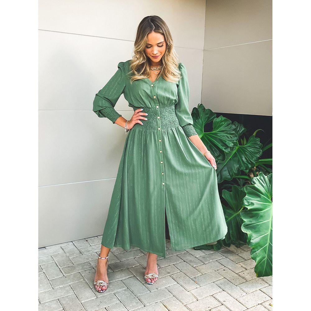Vestido-Lastex-Shimmy-Olive
