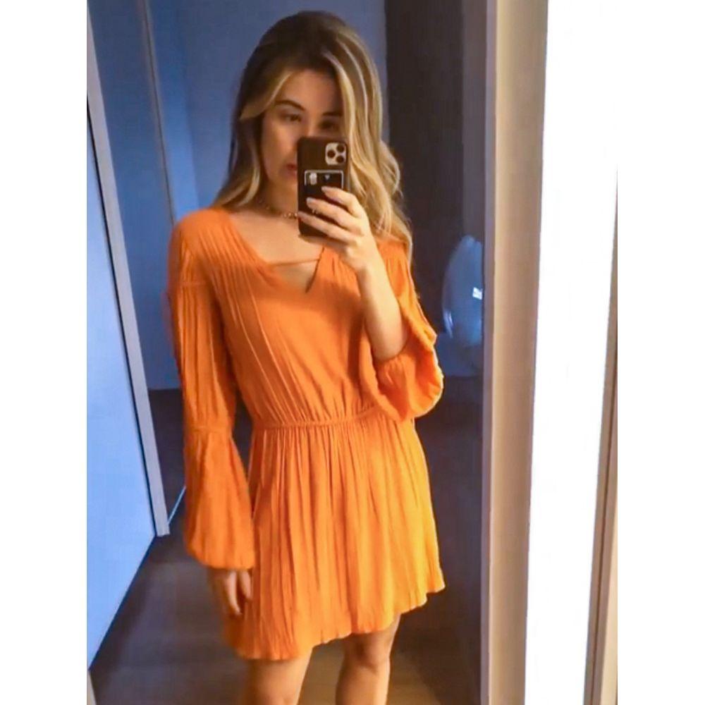 Vestido-Mini-Franzidos-Tangerina