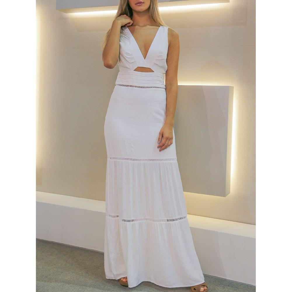 Vestido-Jacquard-Longo-Pregas-Off-White
