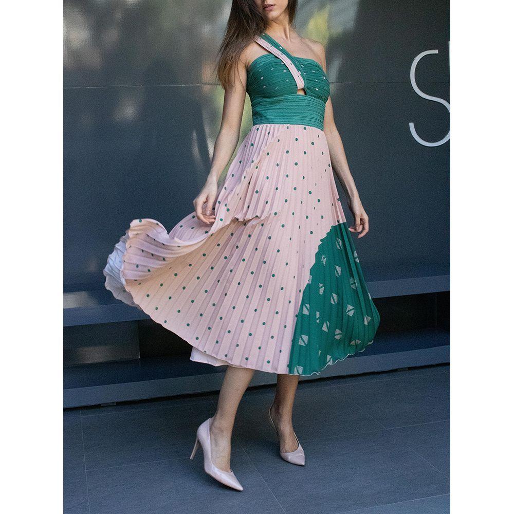 Vestido-Plissado-Mix-Poa-Nude-Verde