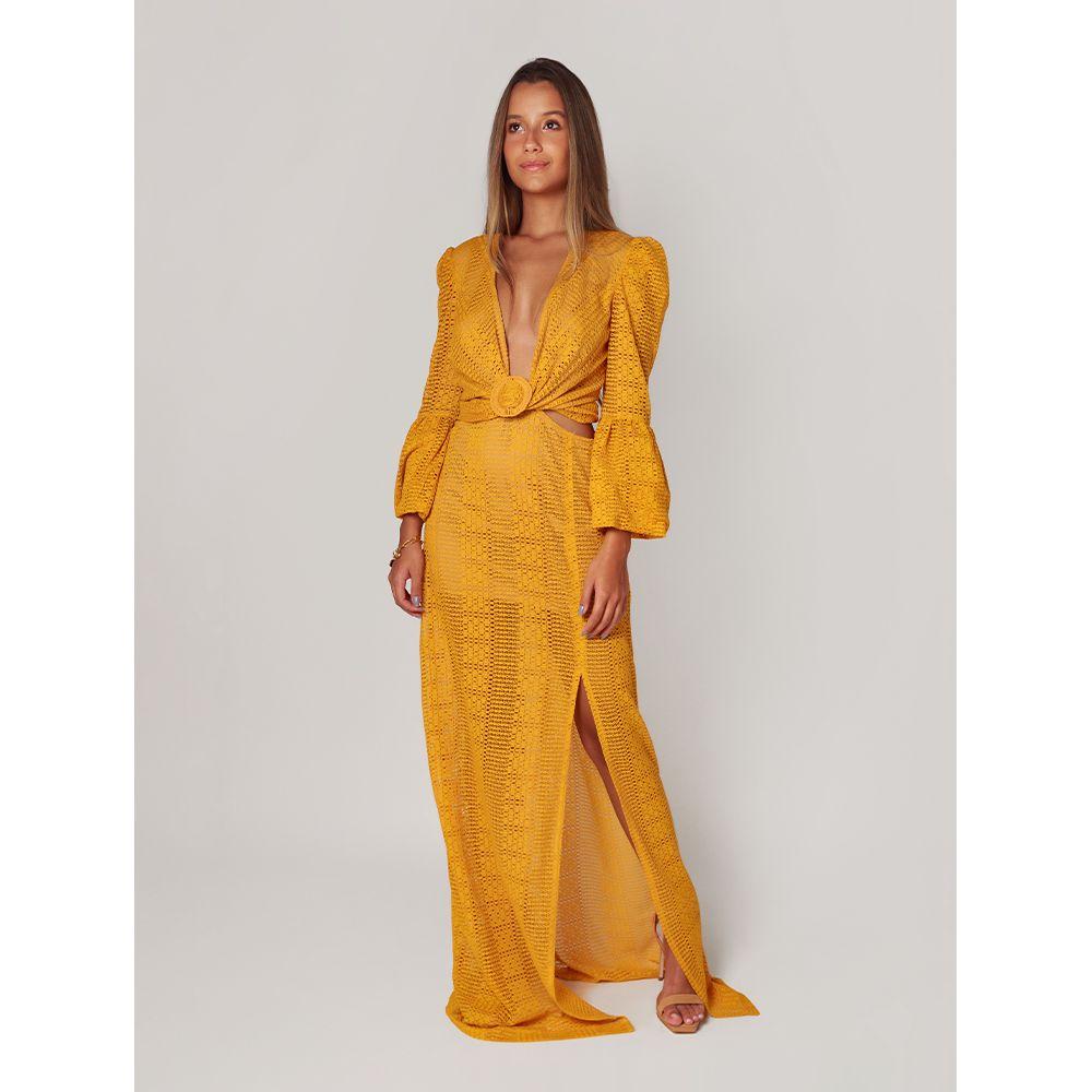 Vestido-Longo-Texturizado---Mostarda