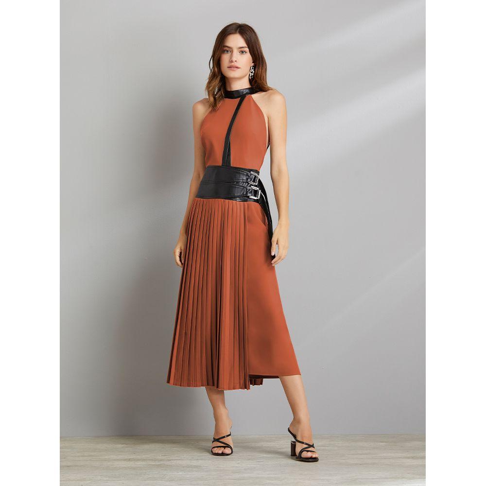 Vestido-Plissado-Special-Marrom---Preto