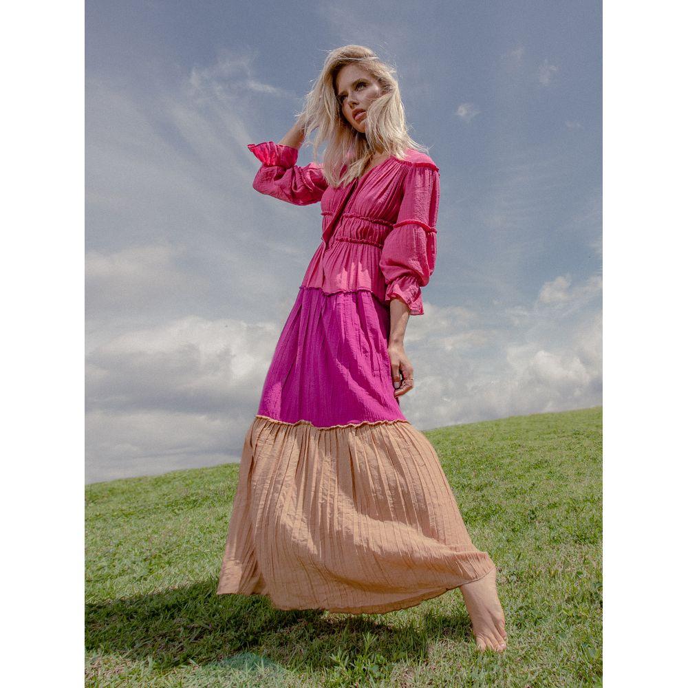 Vestido-Fluido-Color-Block---Pink-Violet-Caqui