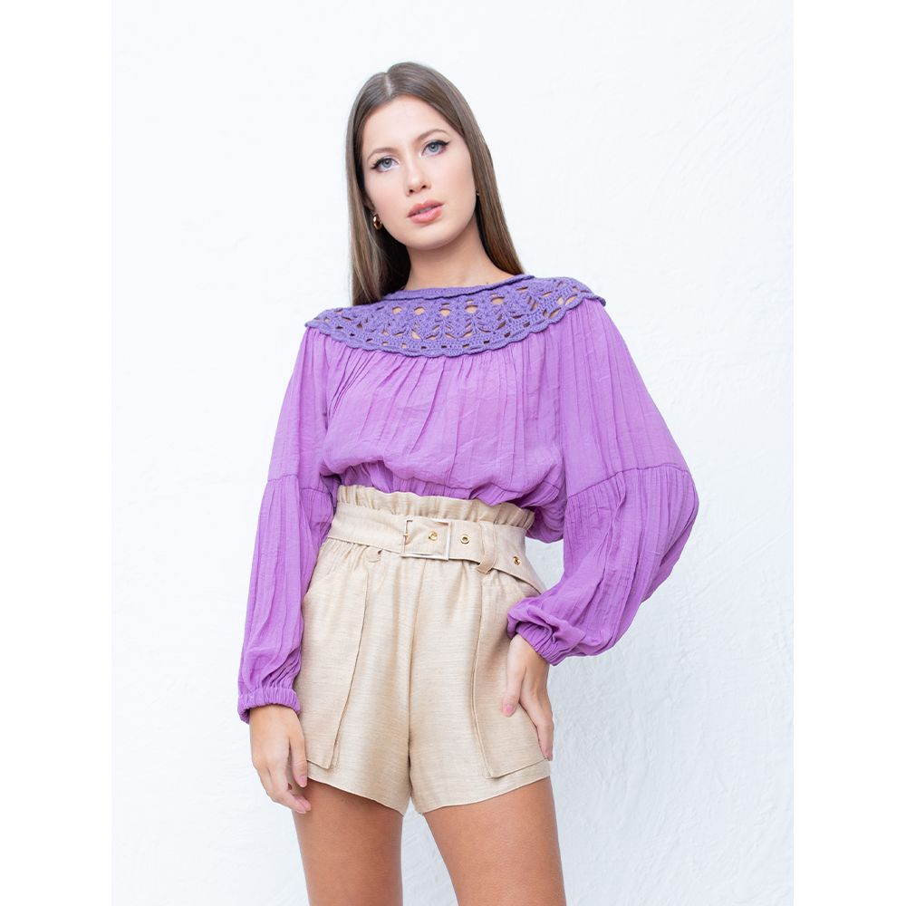 Blusa-Bufante-Crochet-Lavanda