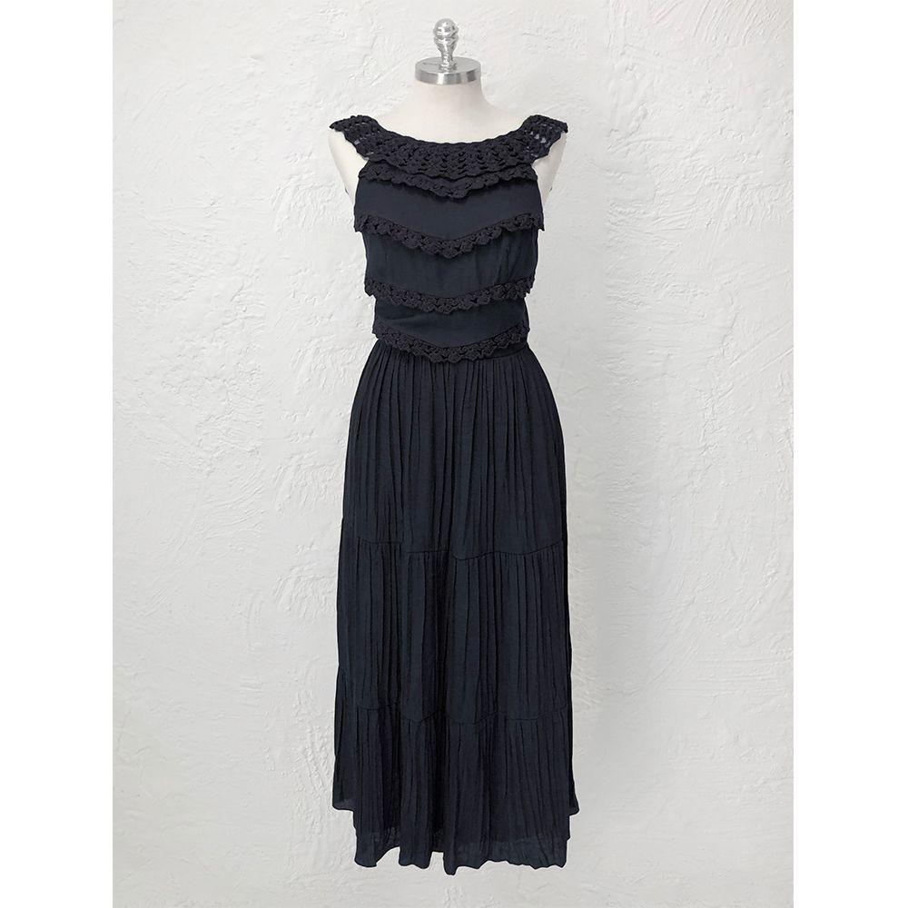 Vestido-Babados-Crochet-Preto