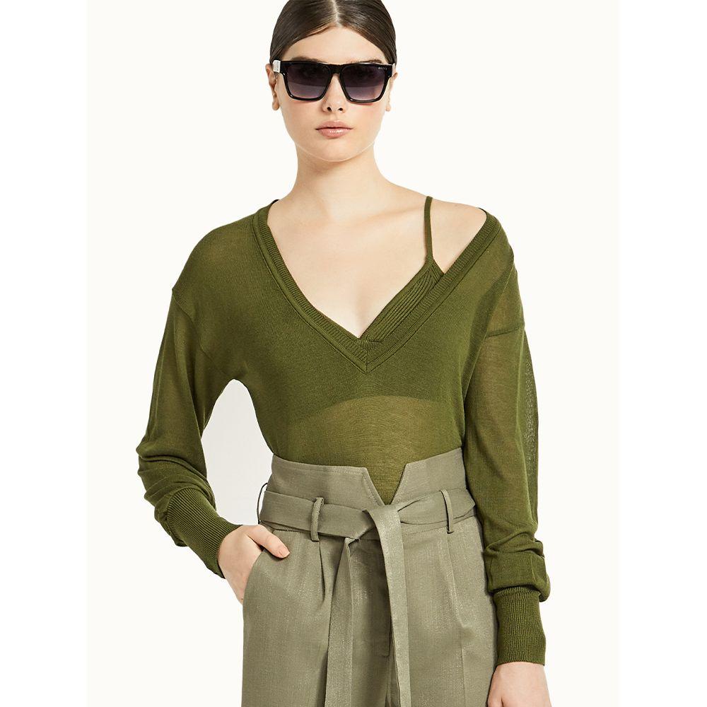 Blusa-Tricot-Decote-V-com-Top---Verde-Menta