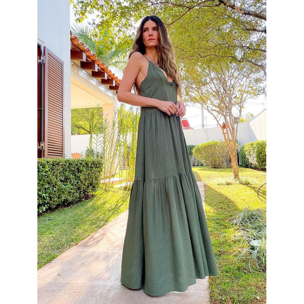 Vestido-Longo-com-Top-Verde