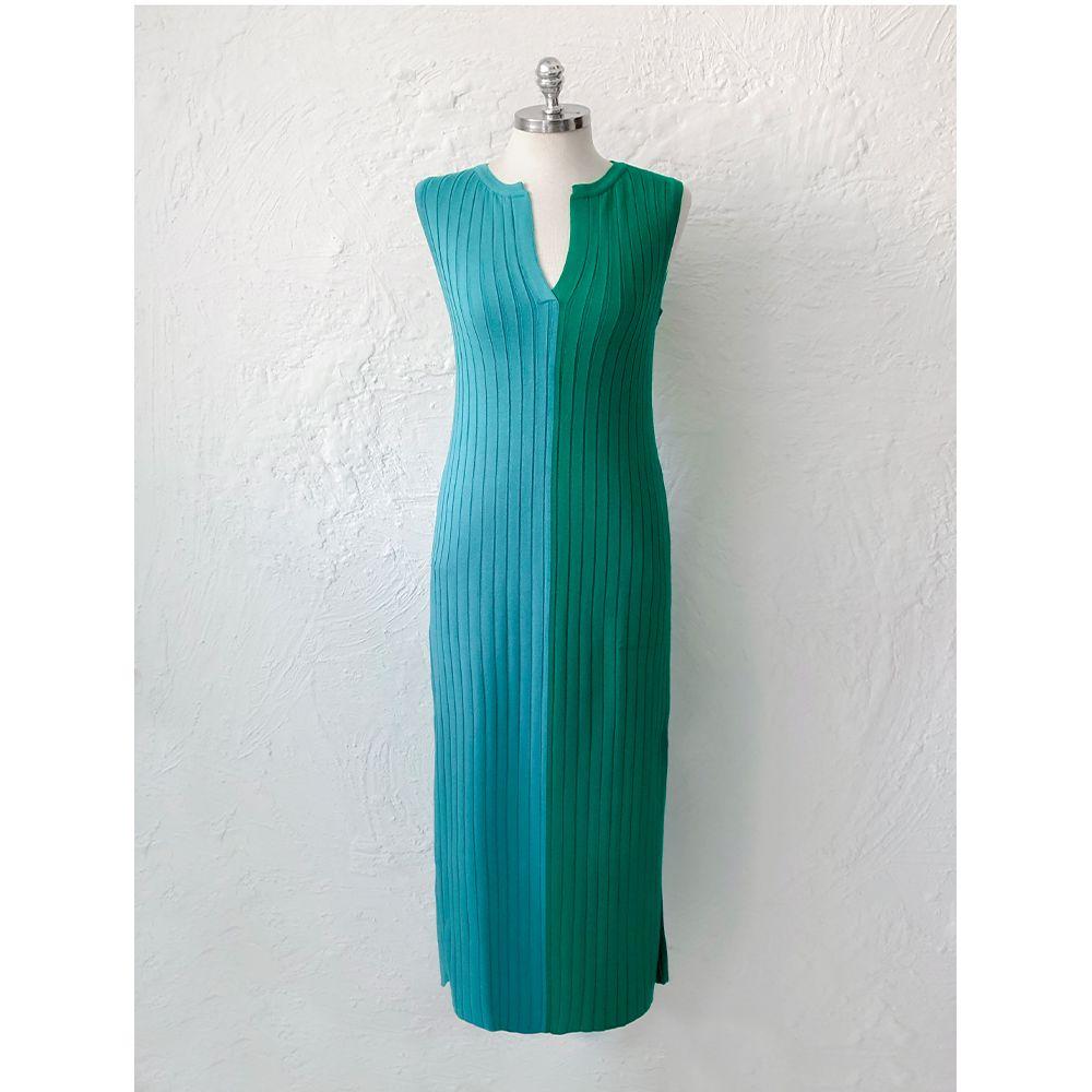 Vestido-Tricot-Bicolor-Azul-Verde-